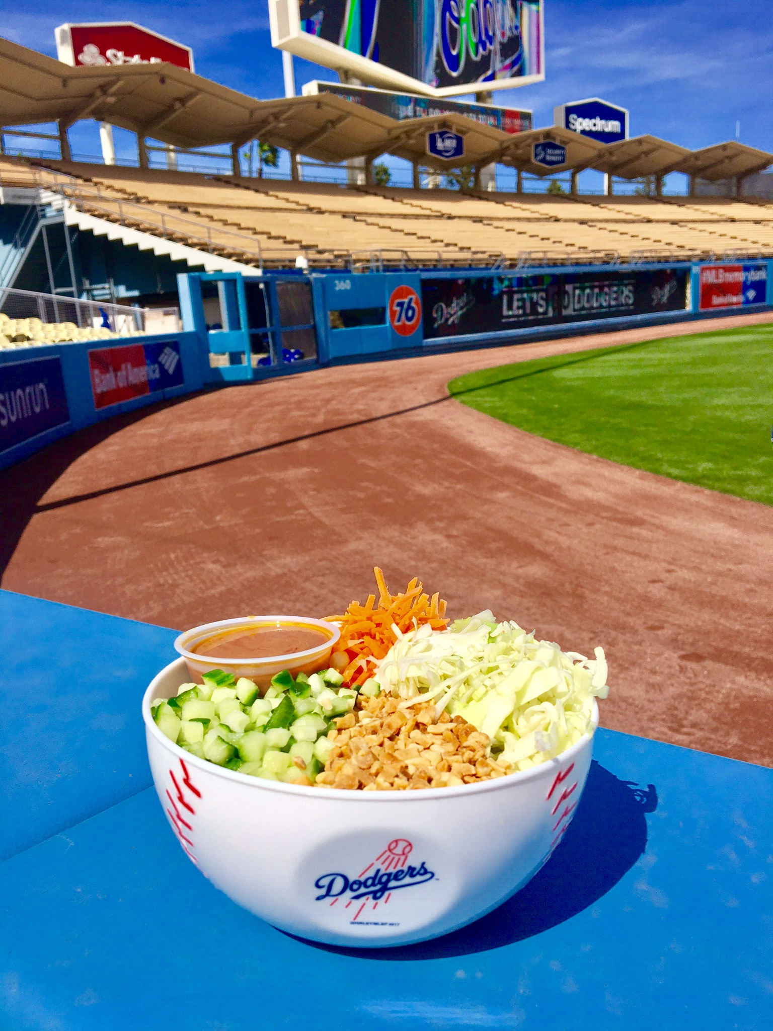 VEGAN NOODLE BOWL    Vietnamese bean thread noodle, nappa cabbage, shredded carrots, diced cucumber, peanuts, diced jalapeño, peanut sauce located at   Base Bowls on Field level (section 45).