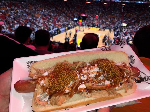 Foot long Miami Dog  – footlong beef hot dog, pork confit, caviar mustard, white cheese