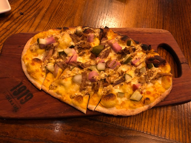 Cuban flatbread in honor of the Packers playing the Dolphins - ham, pulled pork, swiss cheese and beer mustard.