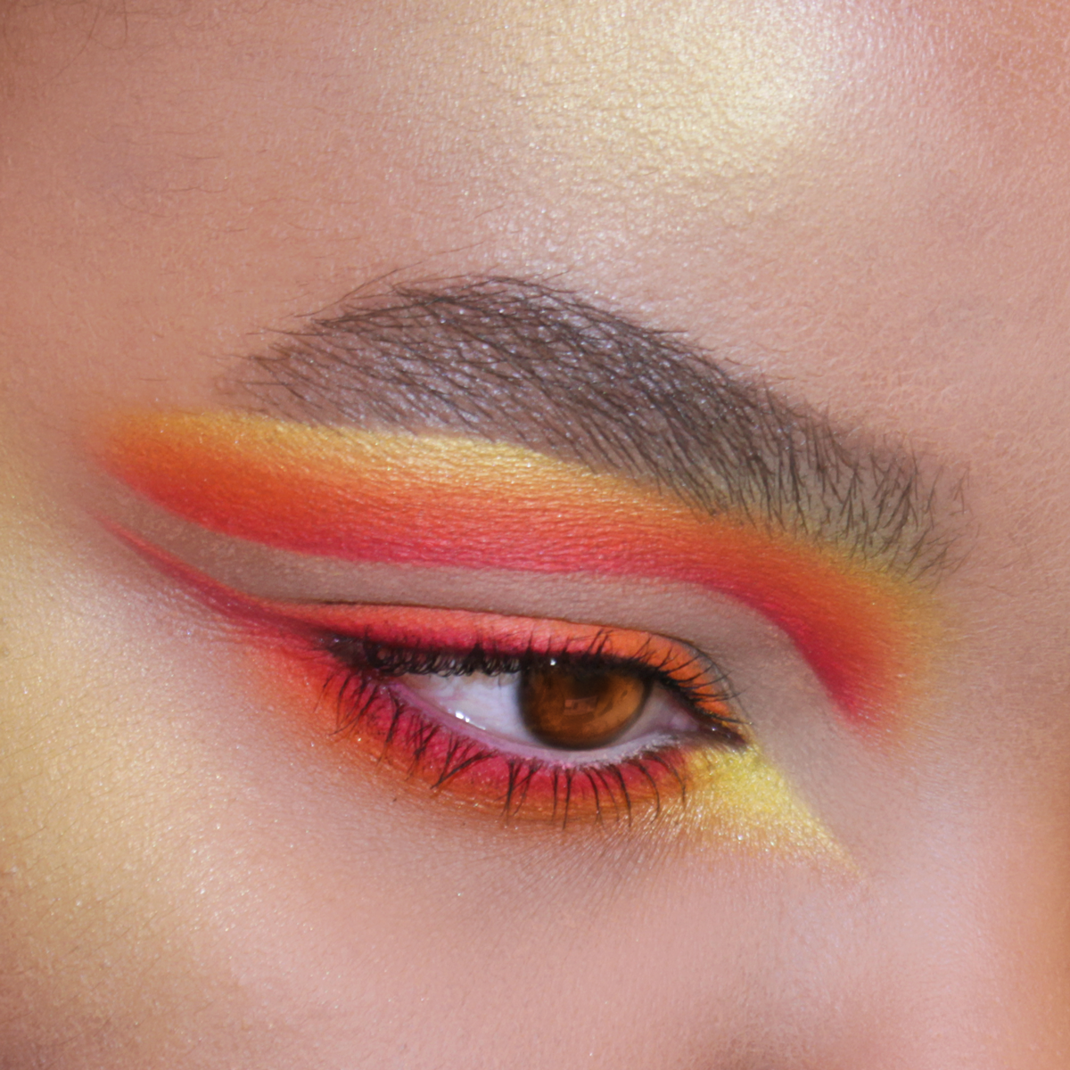 Dramatic Red Eye Makeup, Cut Crease Makeup, Yellow Makeup