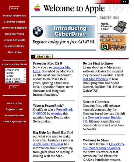 Snapshot of Apple.com in 1997