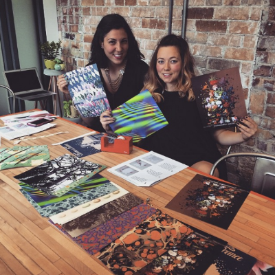 My friend Francesca and I at the 2015 Etsy Craft Party.