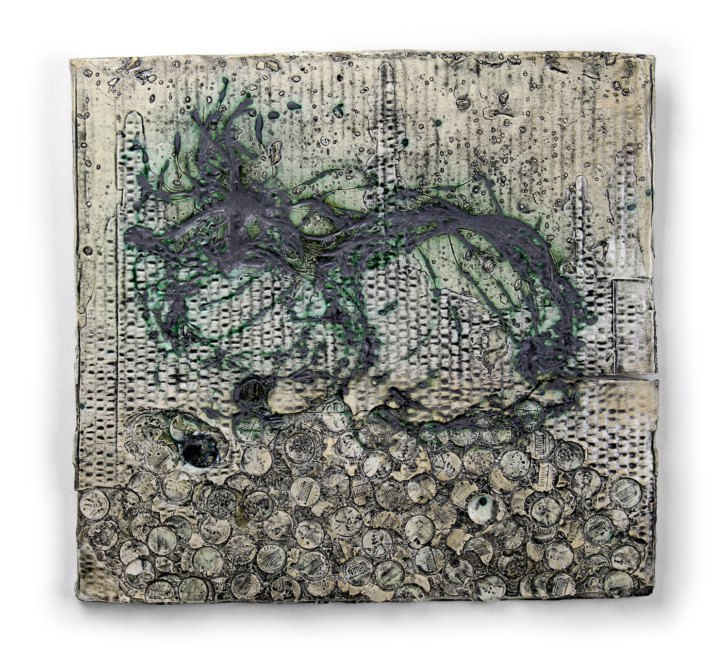 "Jonathan Mess,  Waterstruck Slab No.20 , Reclaimed ceramic materials, 12.5"" x 13.25"" x 1"""