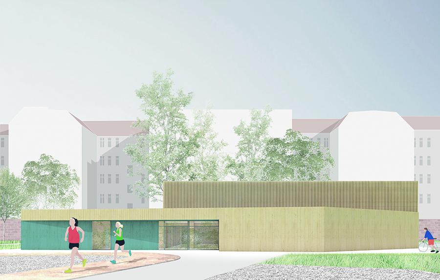 Visualisierung Neubau der Sporthalle der Johannes-Schule Berlin © Kersten Kopp Architekten GmbH