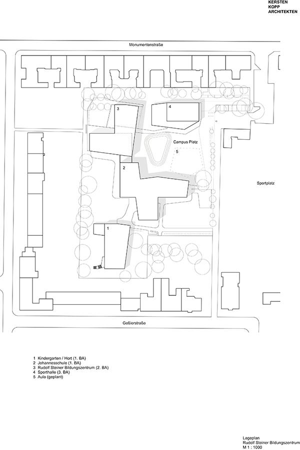 Rudolf-Steiner-Bildungszentrum, Lageplan (c) Kersten Kopp Architekten GmbH
