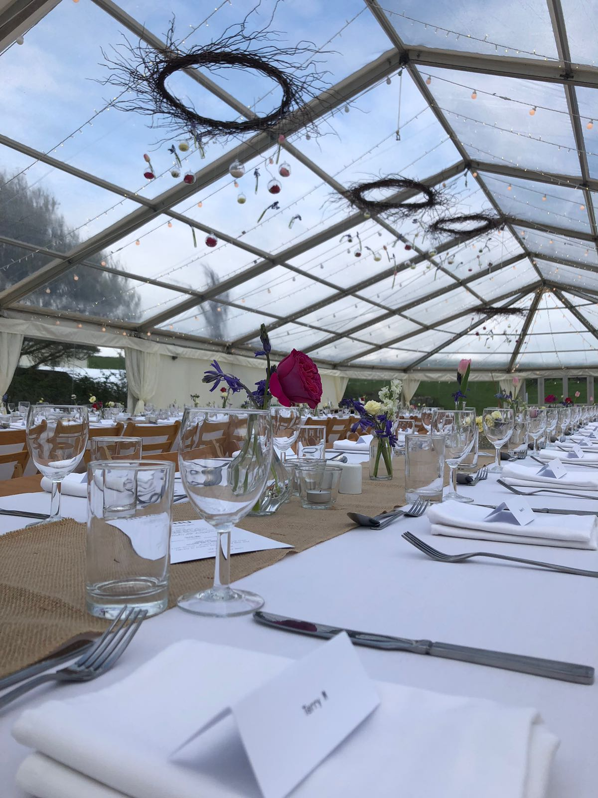 The beautiful clear roofed marquee, by Hatch Marquees all set and ready to go.
