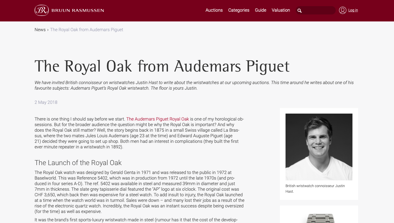 Bruun Rasmussen:  The Royal Oak from Audemars Piguet