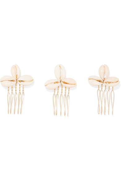 LELET NY   Set of three gold-plated faux shell hair slides