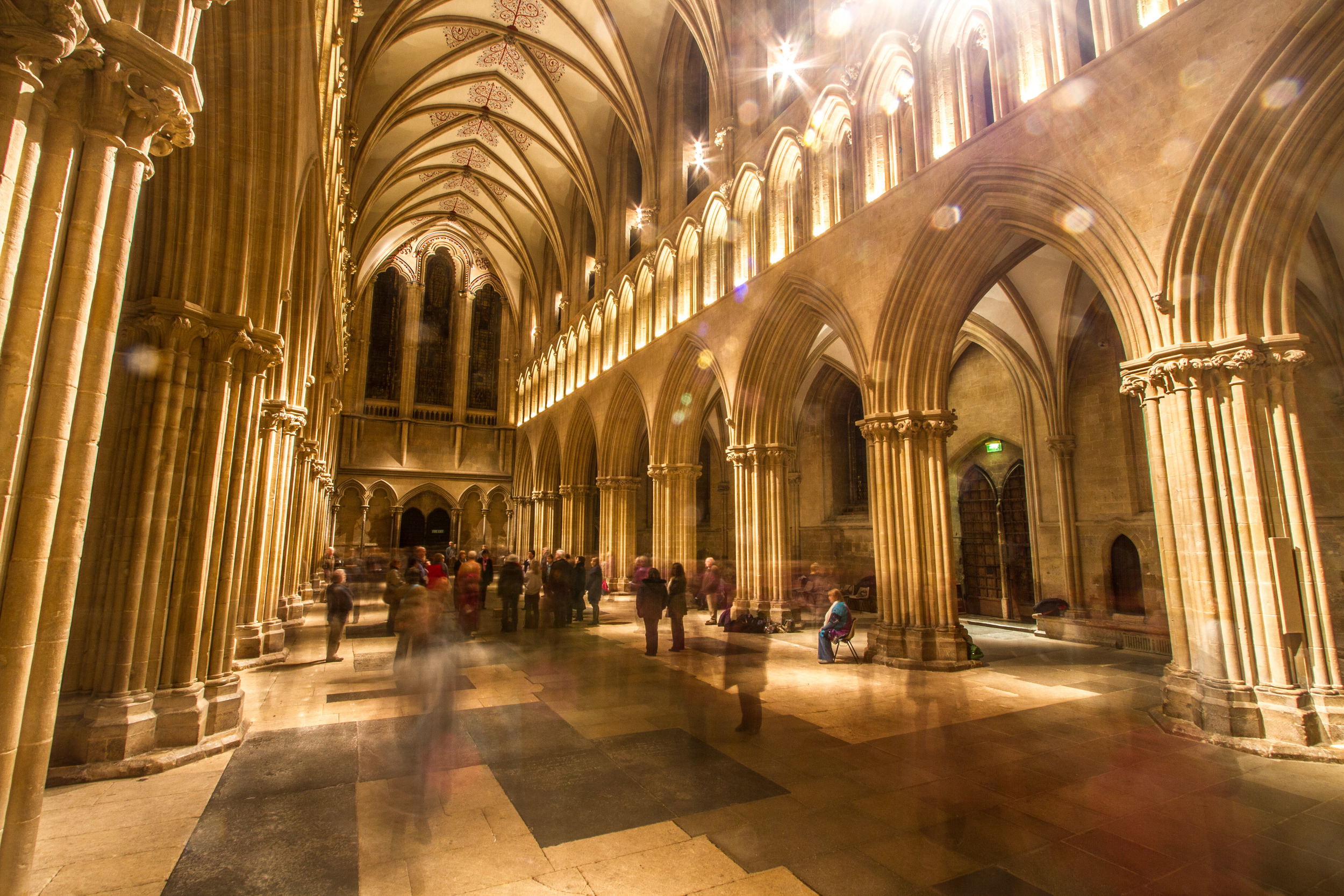 Wells Cathedral emptied of furniture becomes an entirely different narrative space. Image by John Dawson