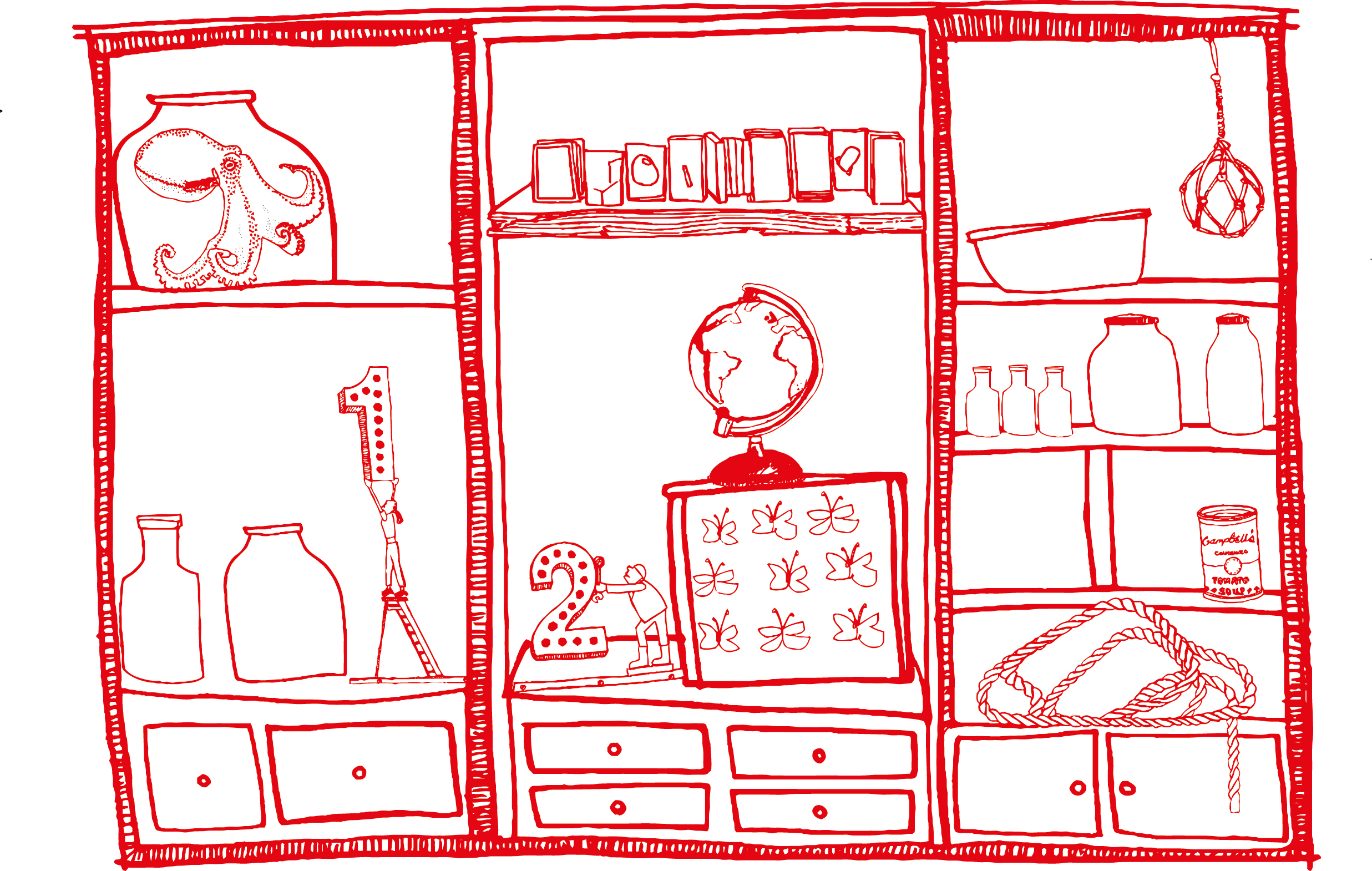 A Cabinet of Curiosities from my journey: illustration by Stephanie Sandall, copyright FCBStudios