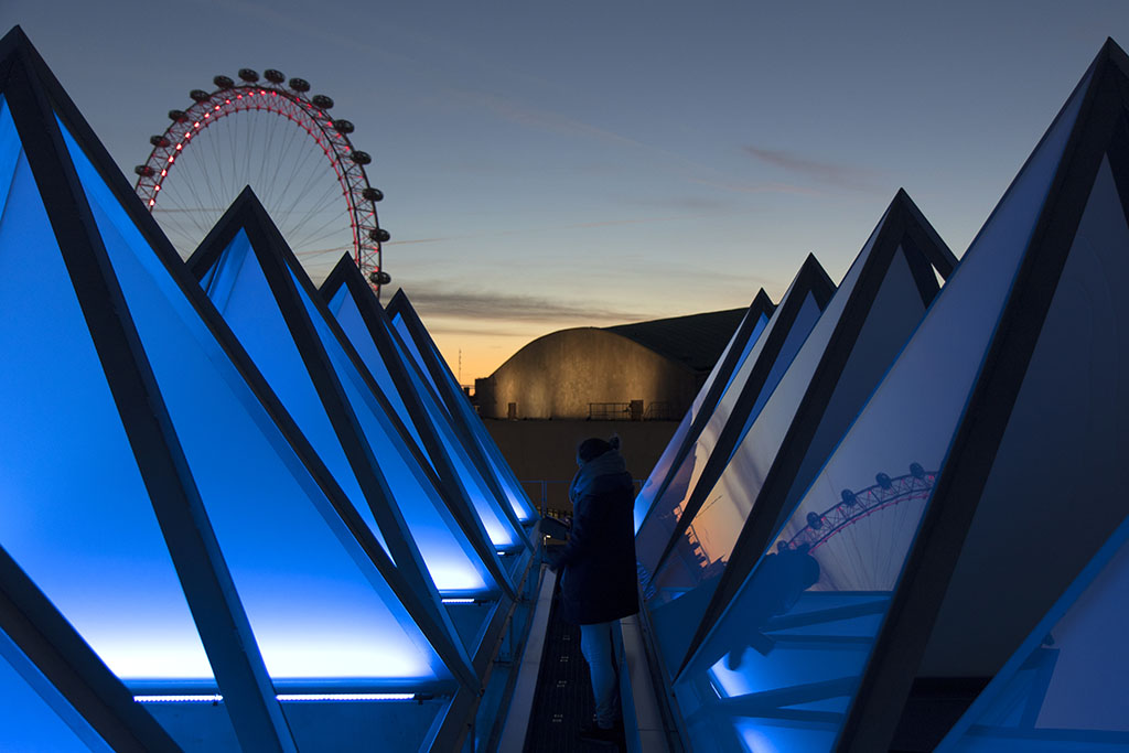 Hayward Gallery Rooflights at night with views to the 'parent' building Royal Festival Hall in the background // Image credit: Richard Battye