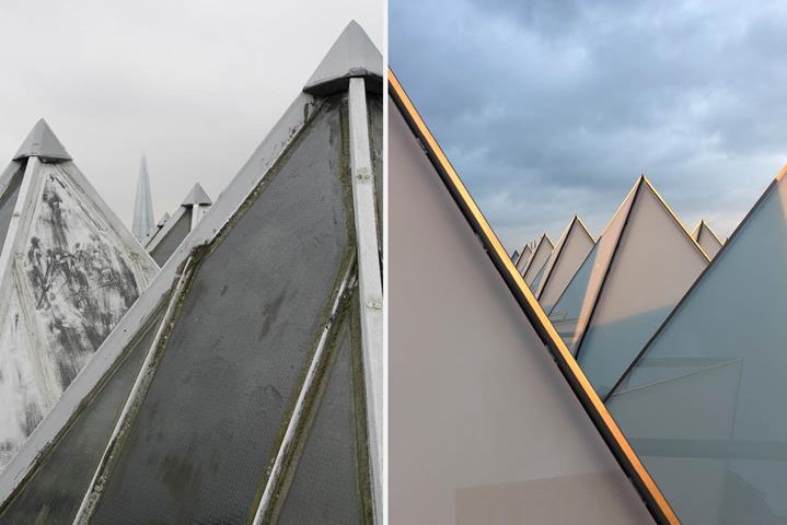 Hayward Gallery Rooflights: 'before and after' // Image credit: Richard Battye