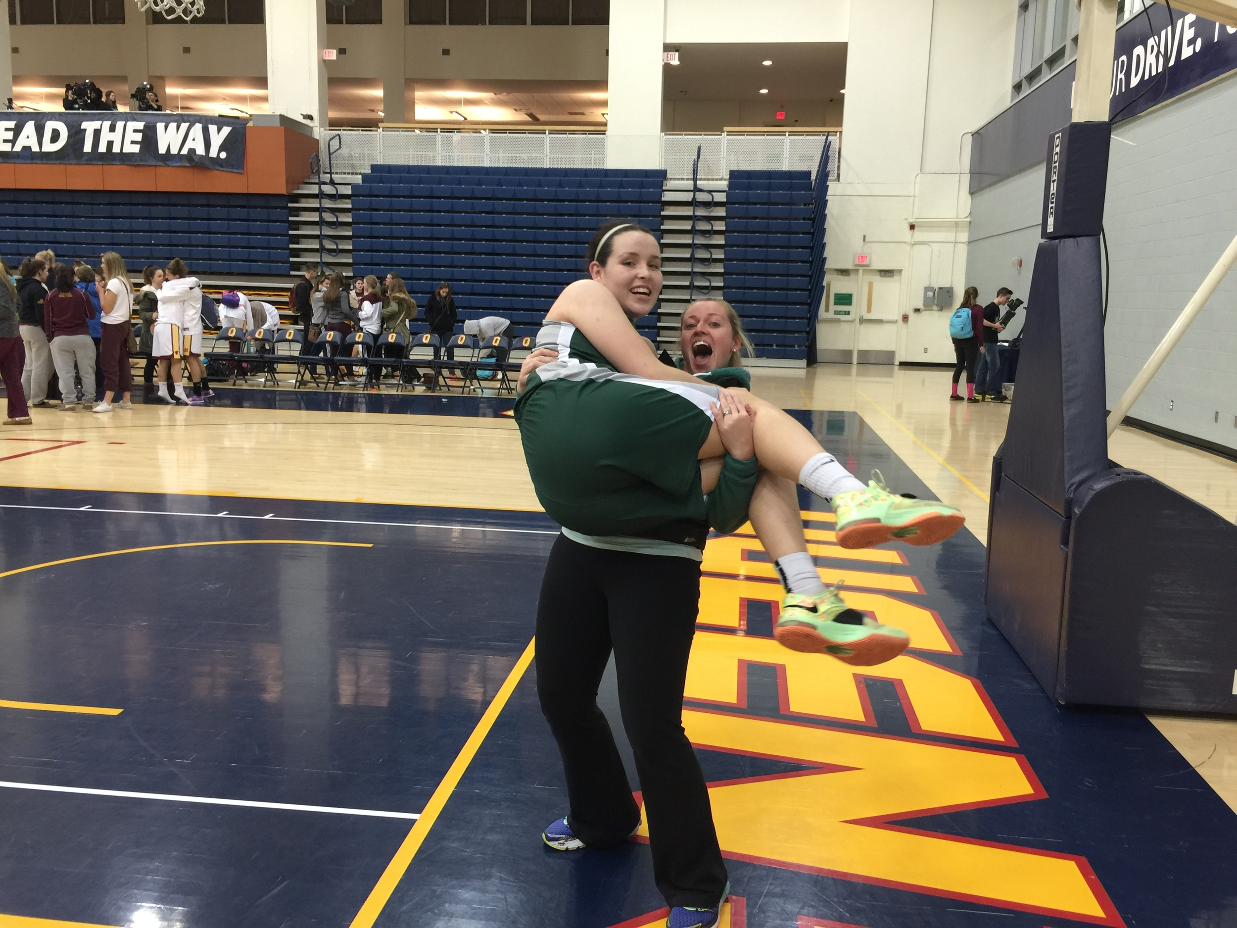 Coach Lindsey mauling Mercury Strength athlete Sydney after her KAASSAA Senior Girls Basketball championship! Holy Cross Crusaders are headed to OFSAA in Windsor at the end of the month. GO SYD!!!