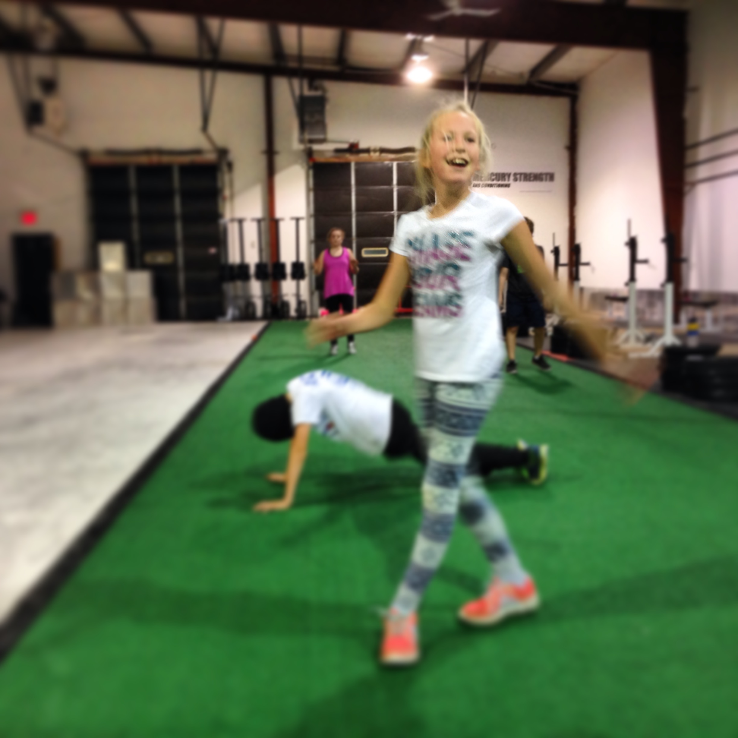 Here is Abby being pretty excited after finishing with 140 BURPEES in 10 minutes!!! Awesome job Abby!