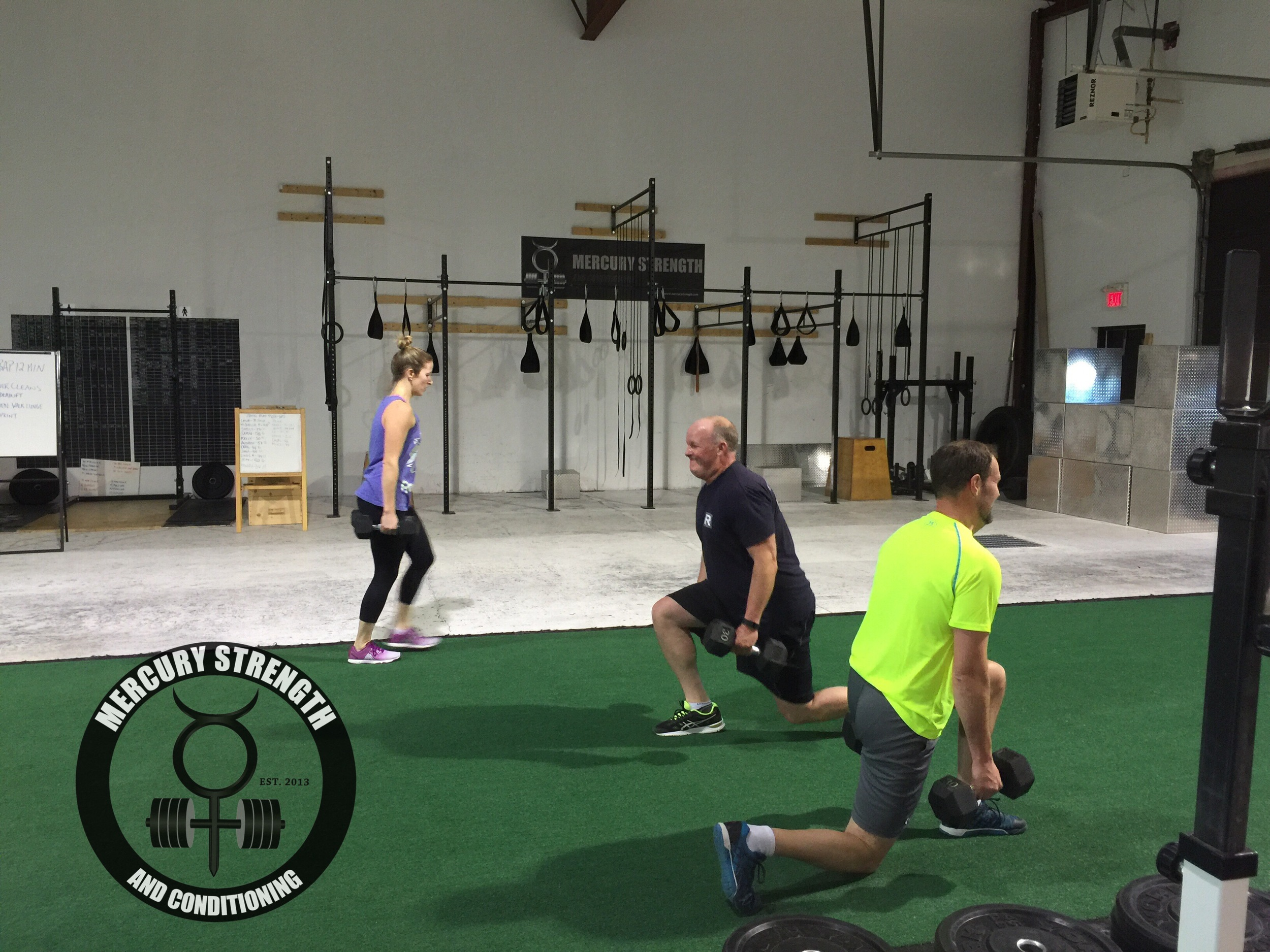 Kelly, Craig, and Andrew with some uneven walking lunges.
