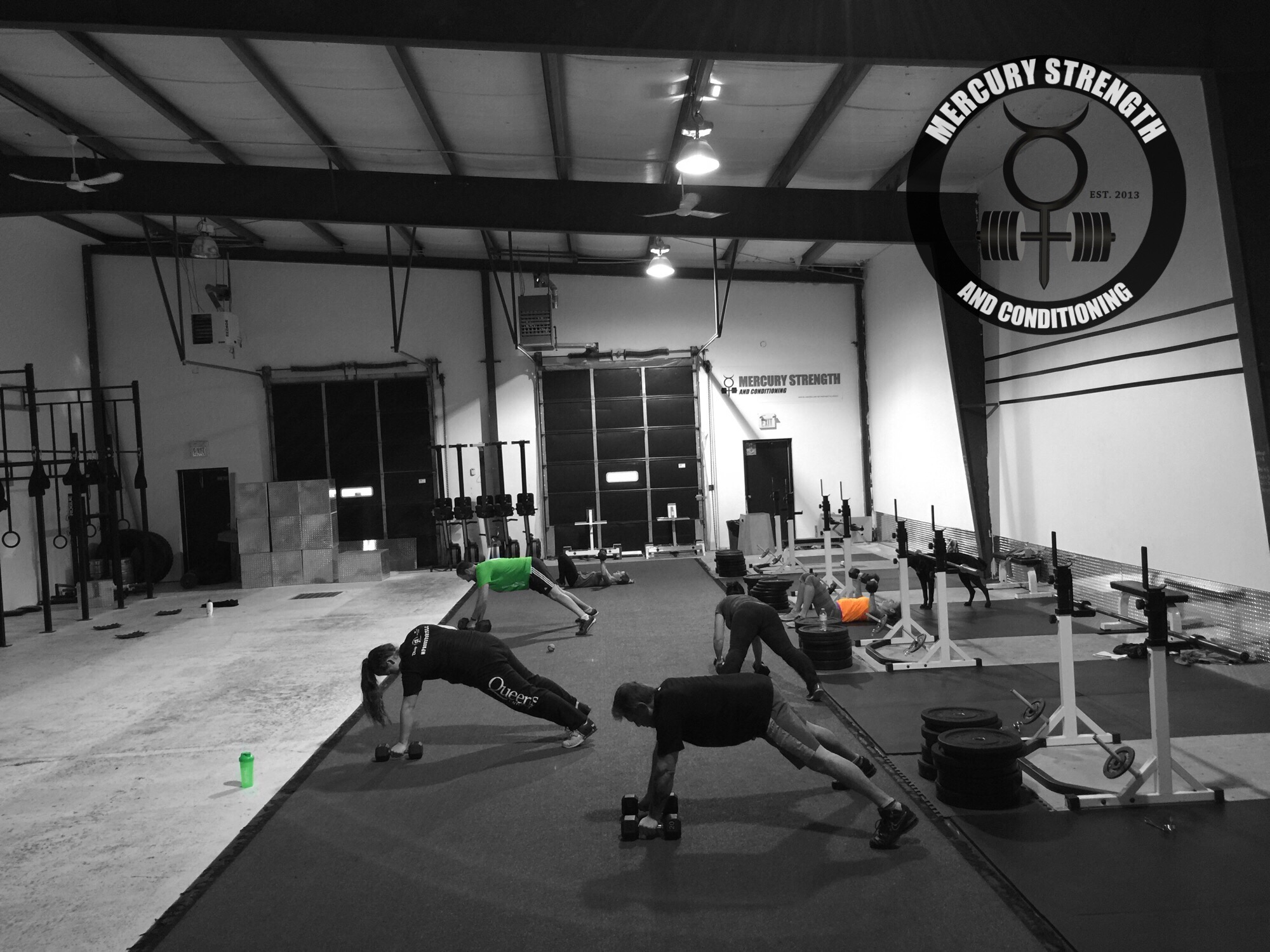 The 09:30 group doing some renegade rows.