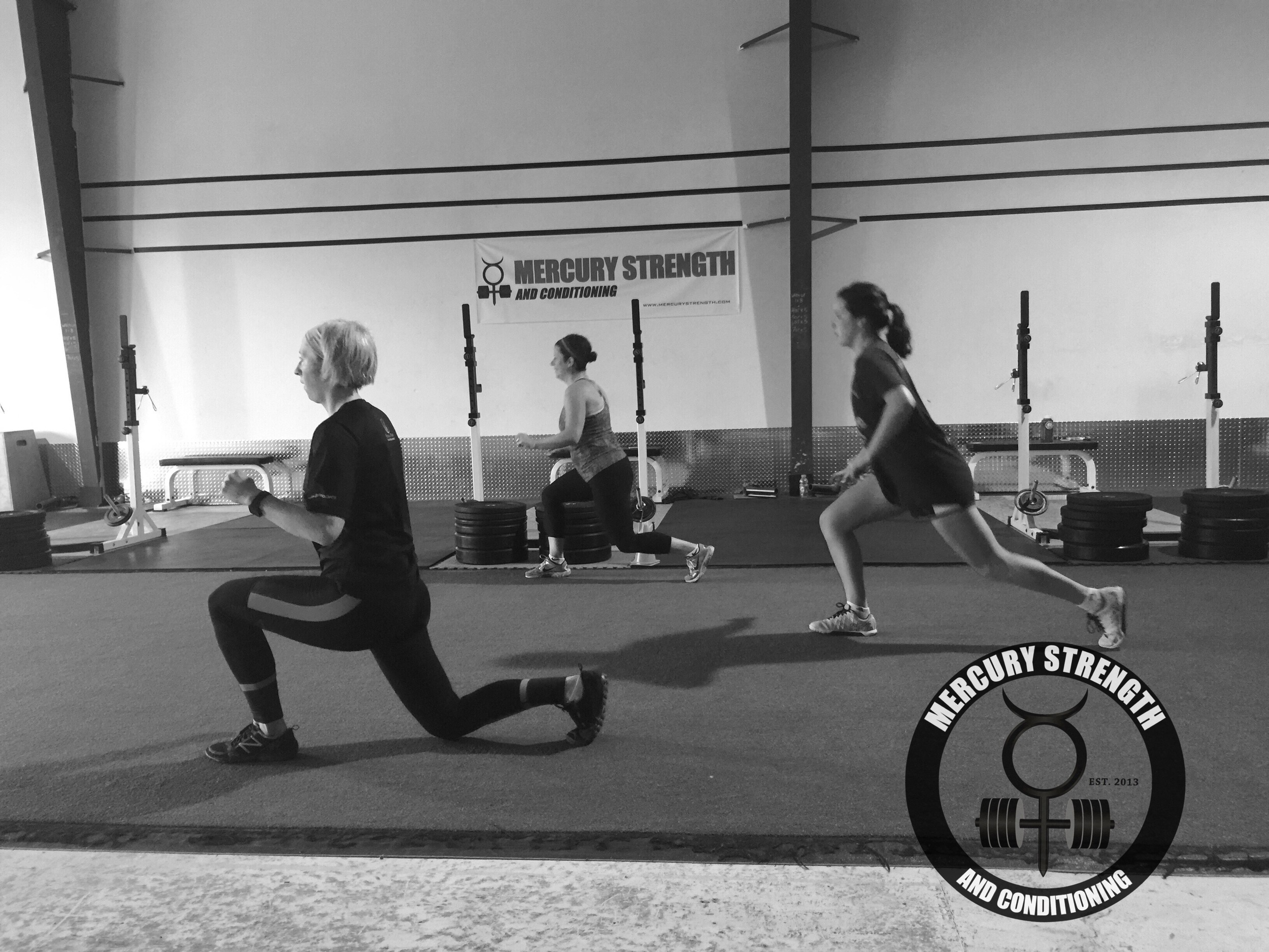 Jennie, Jen, and Syd with some walking lunges during yesterday's Tabata.