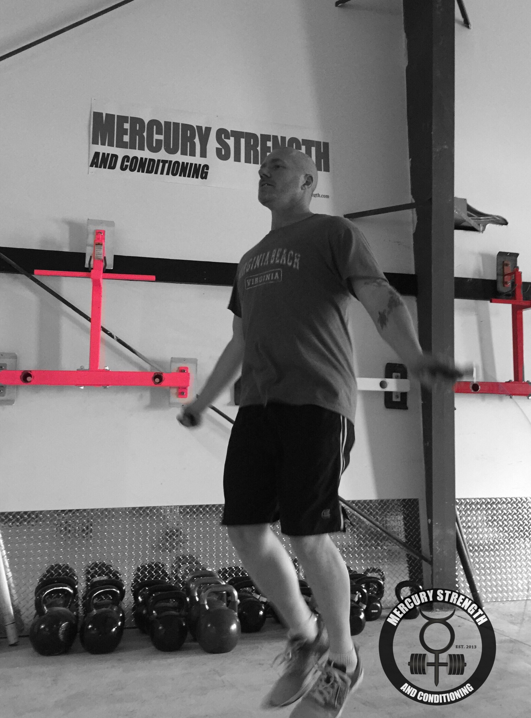 Carl with some skipping during yesterday's workout