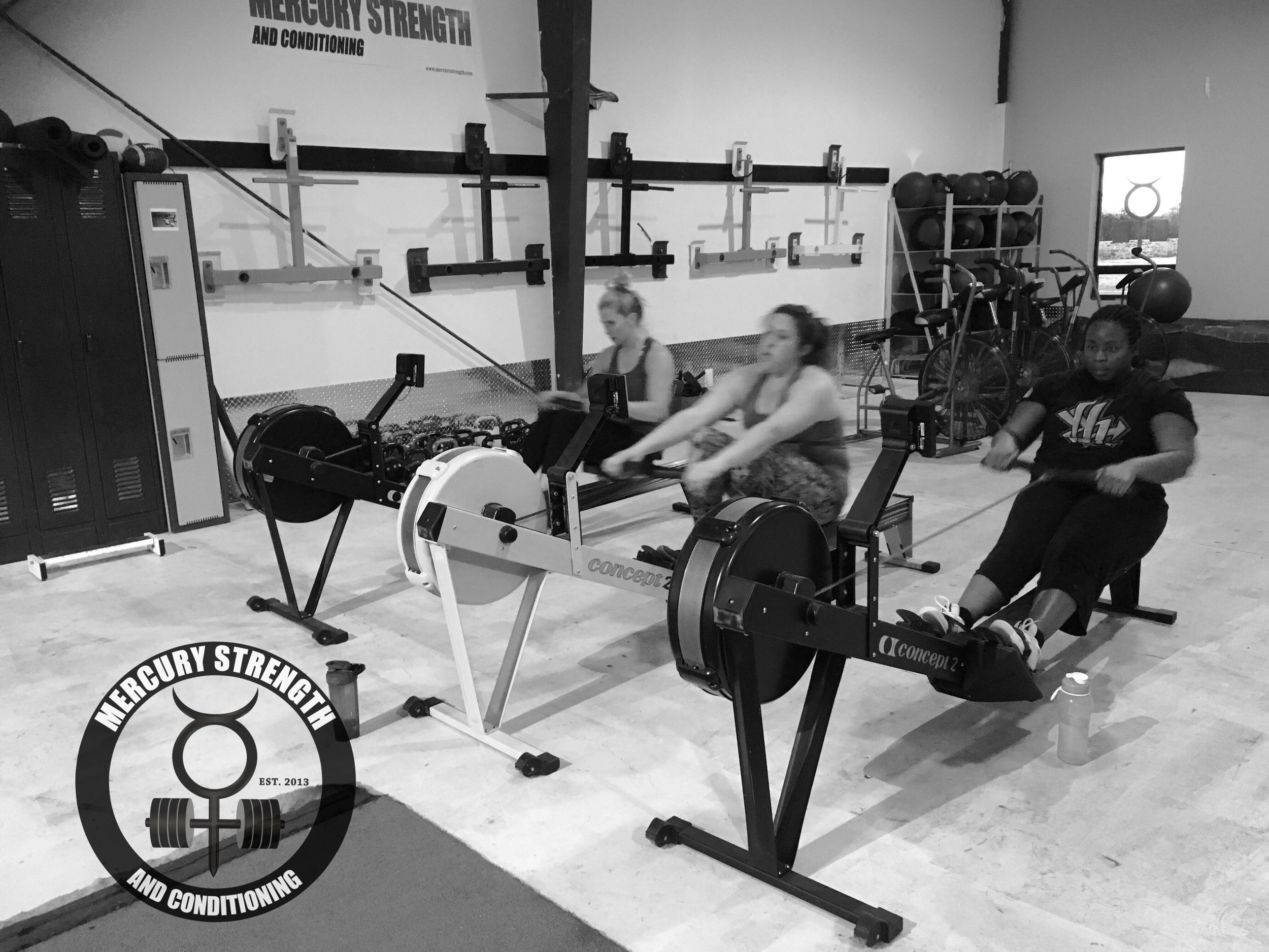 Kelsi, Morgan, and Steph crushing a 1000m row yesterday.