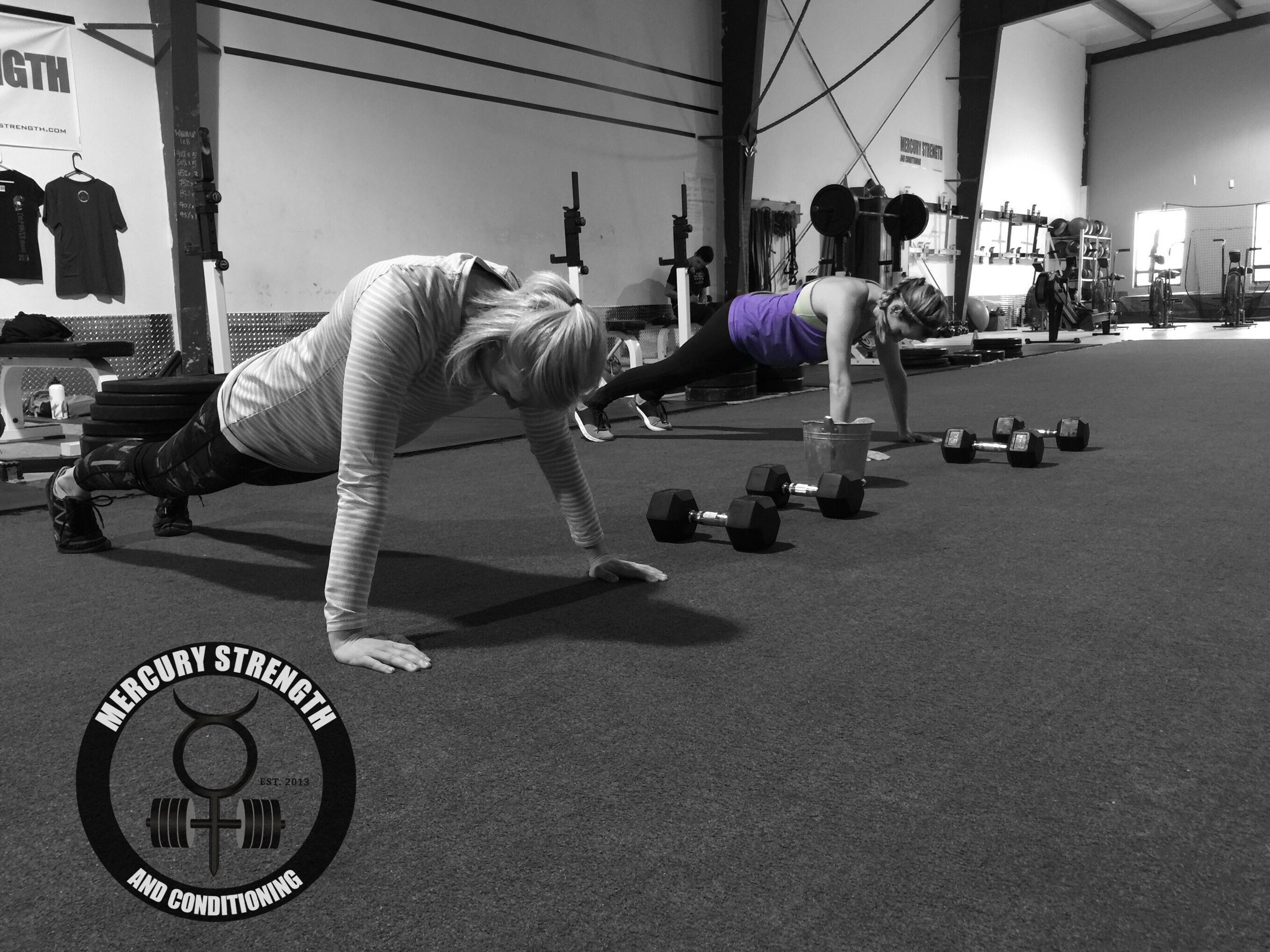 Jennie and Kelly with some Tabata push-ups