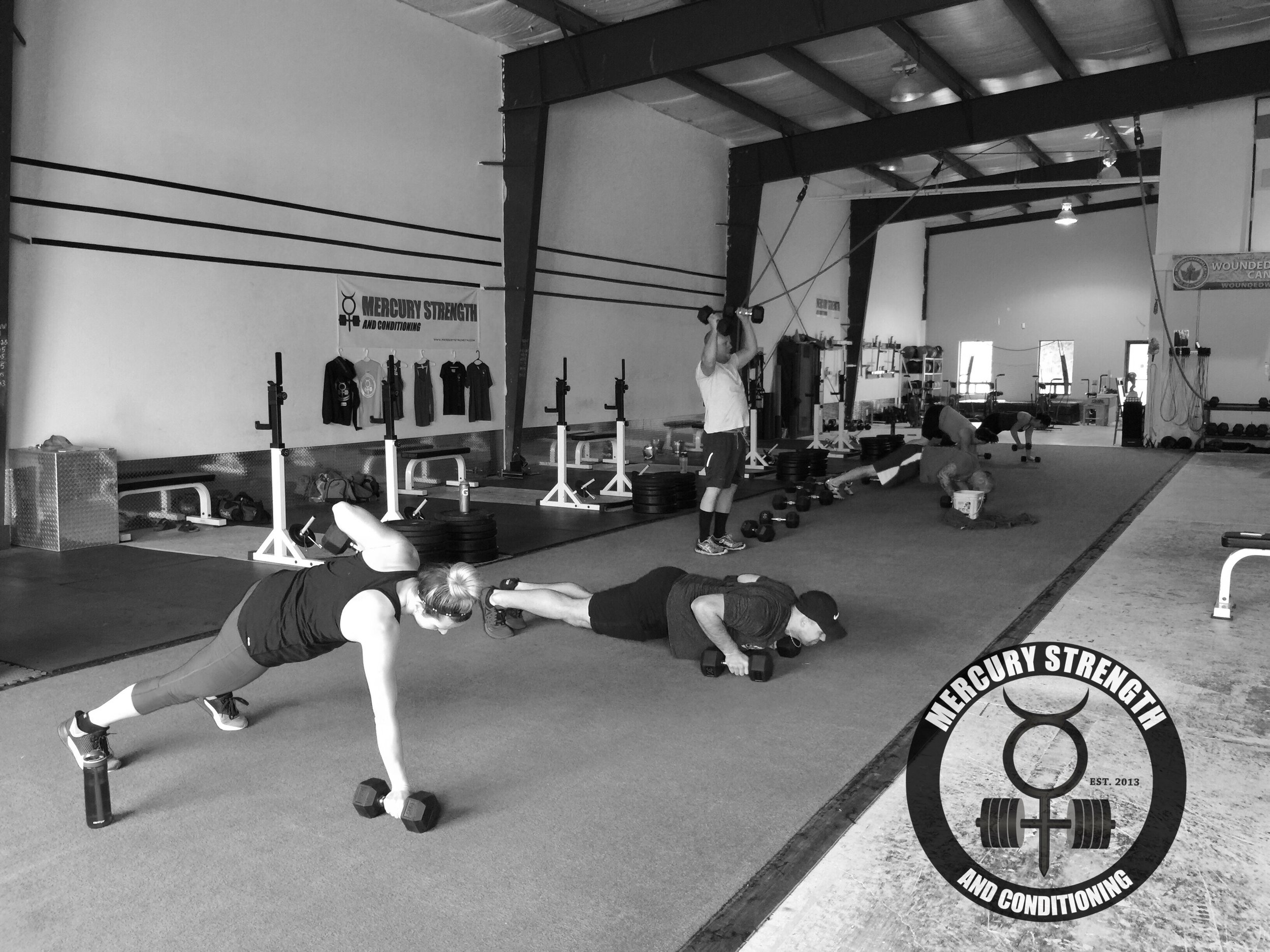 Some of the 09:30 crew during the mutant burpee portion of the workout