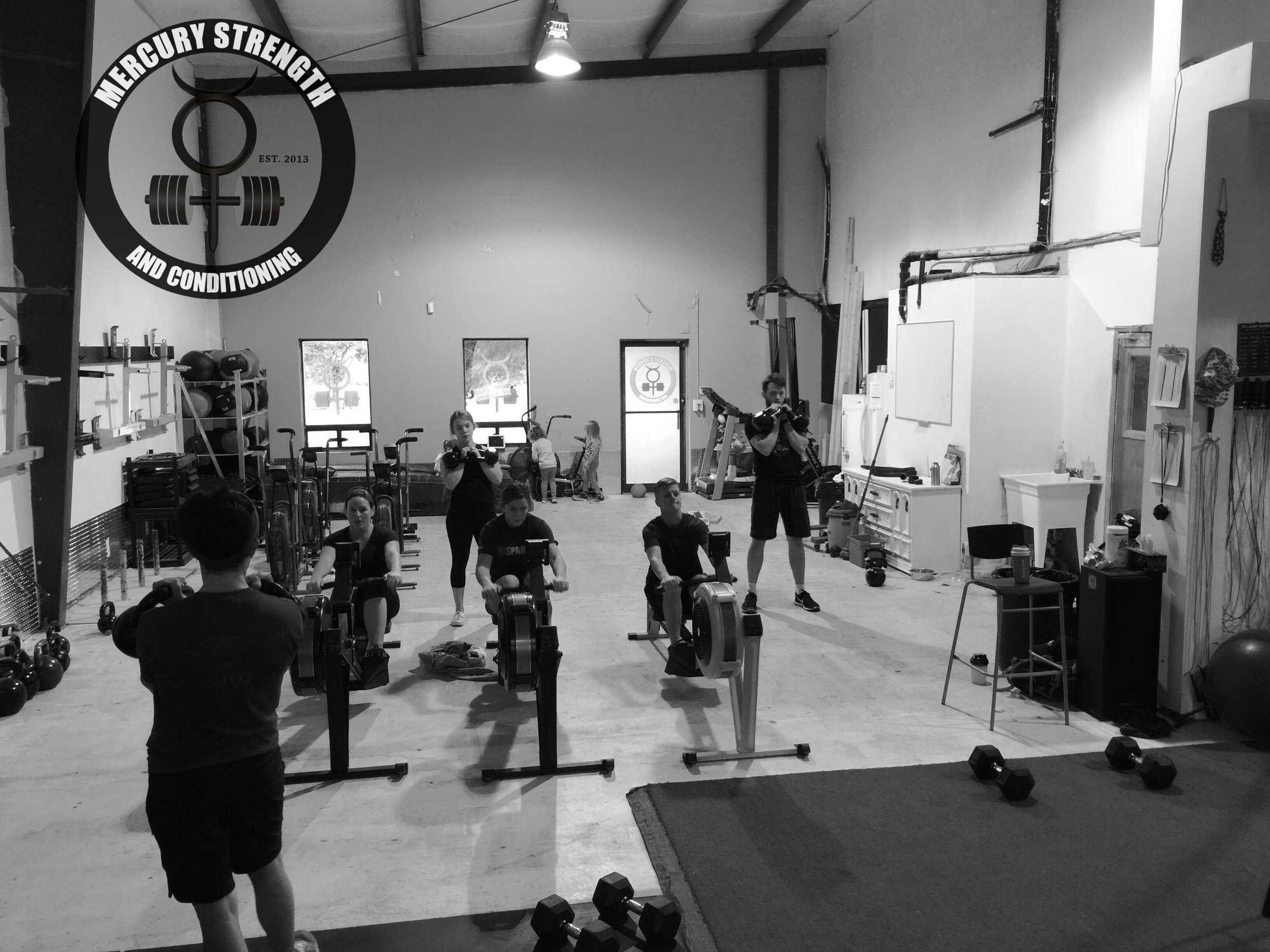 Some rowing and kettlebell rack holds during Saturday's conditioning workout