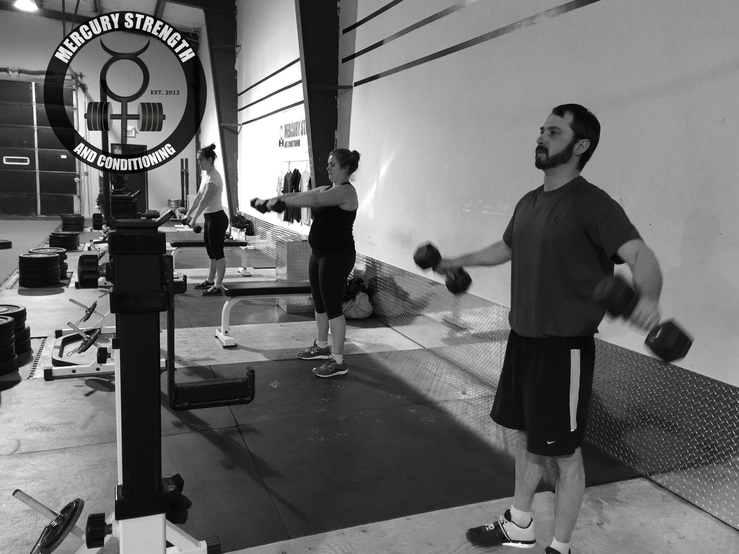 Nick, Keri, and Julie with some dumbbell work