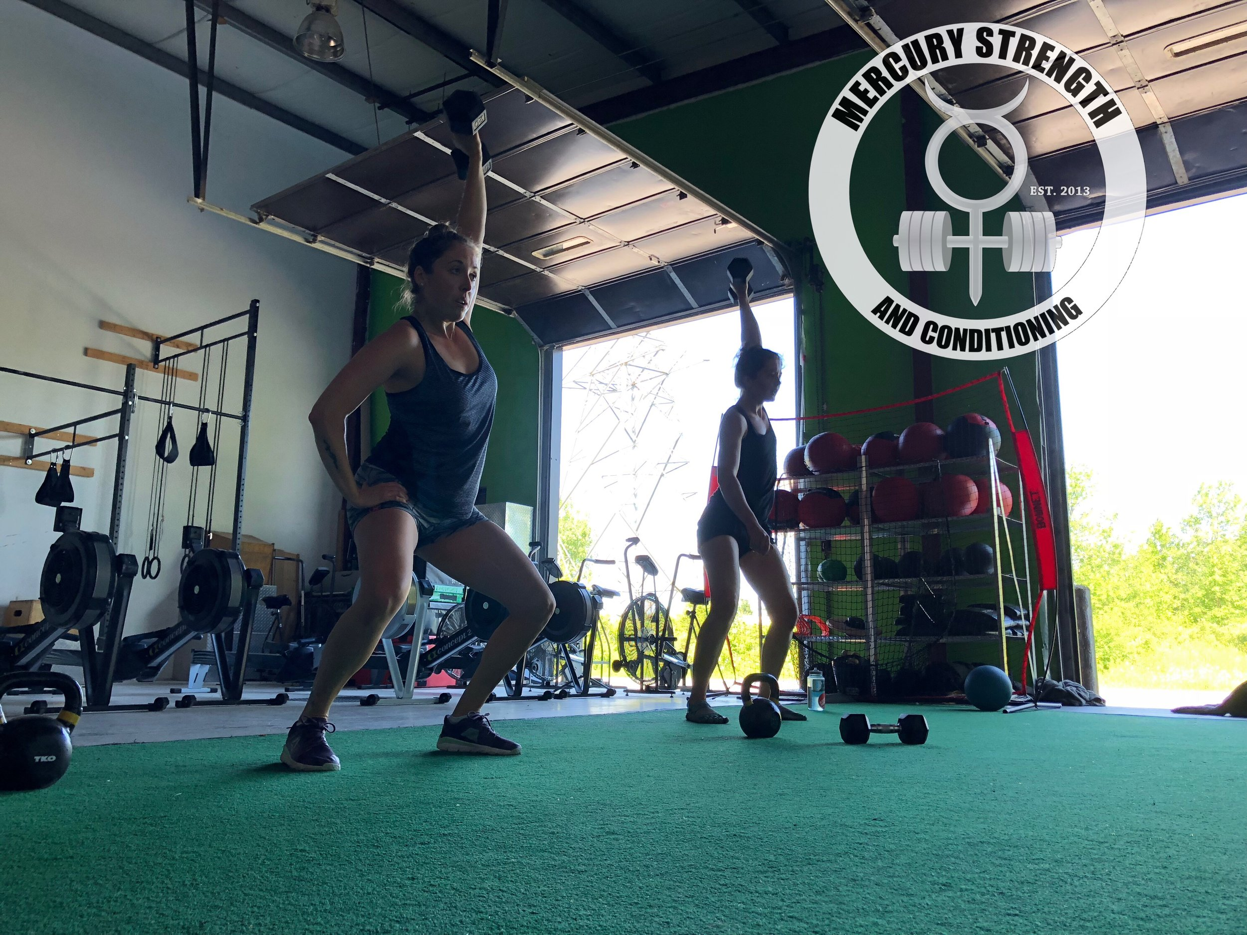 Julianne and Rachel with some DB hang power snatches