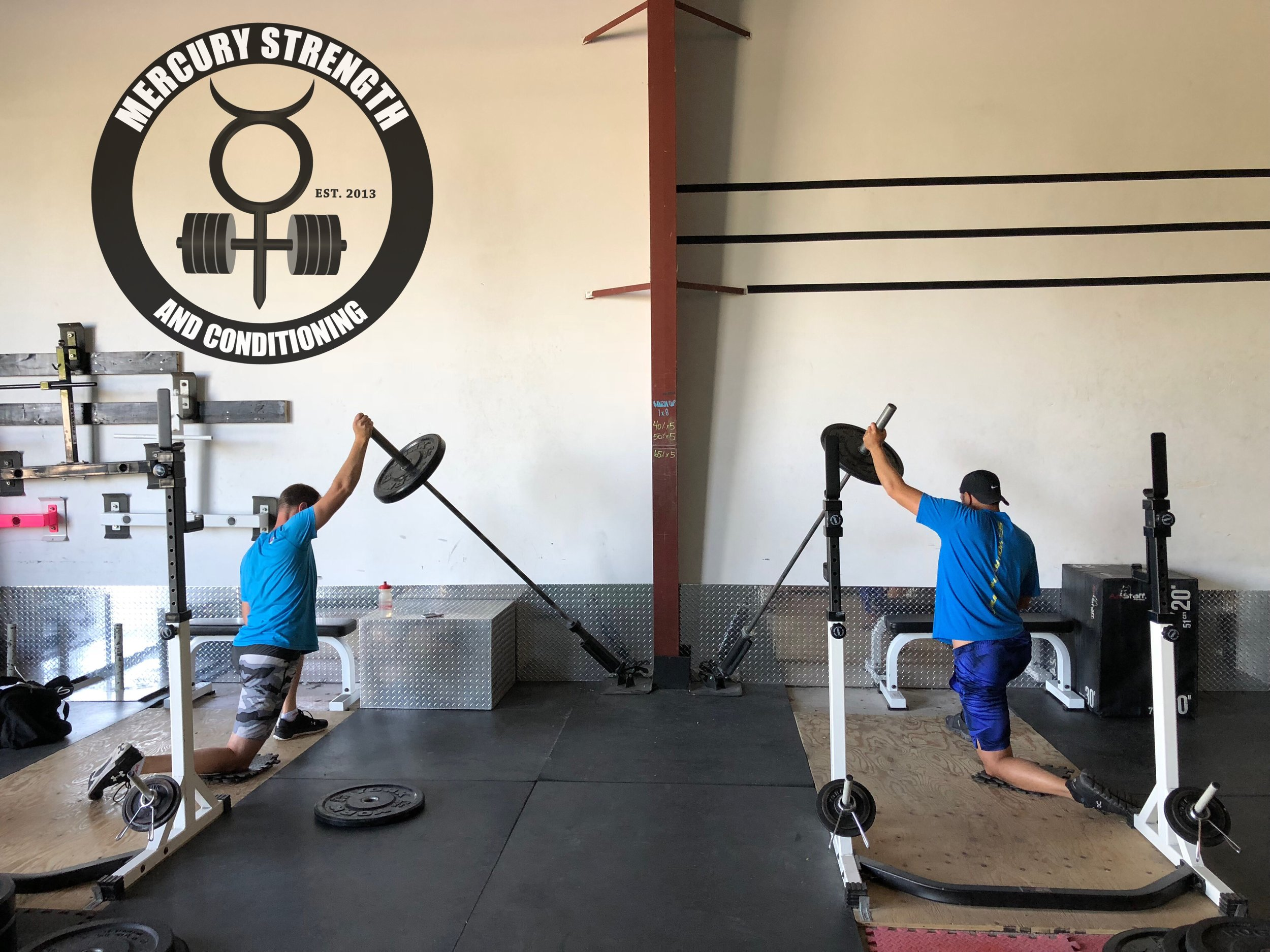 Andrew and Michael cranking out some very tough half kneeling landmine presses