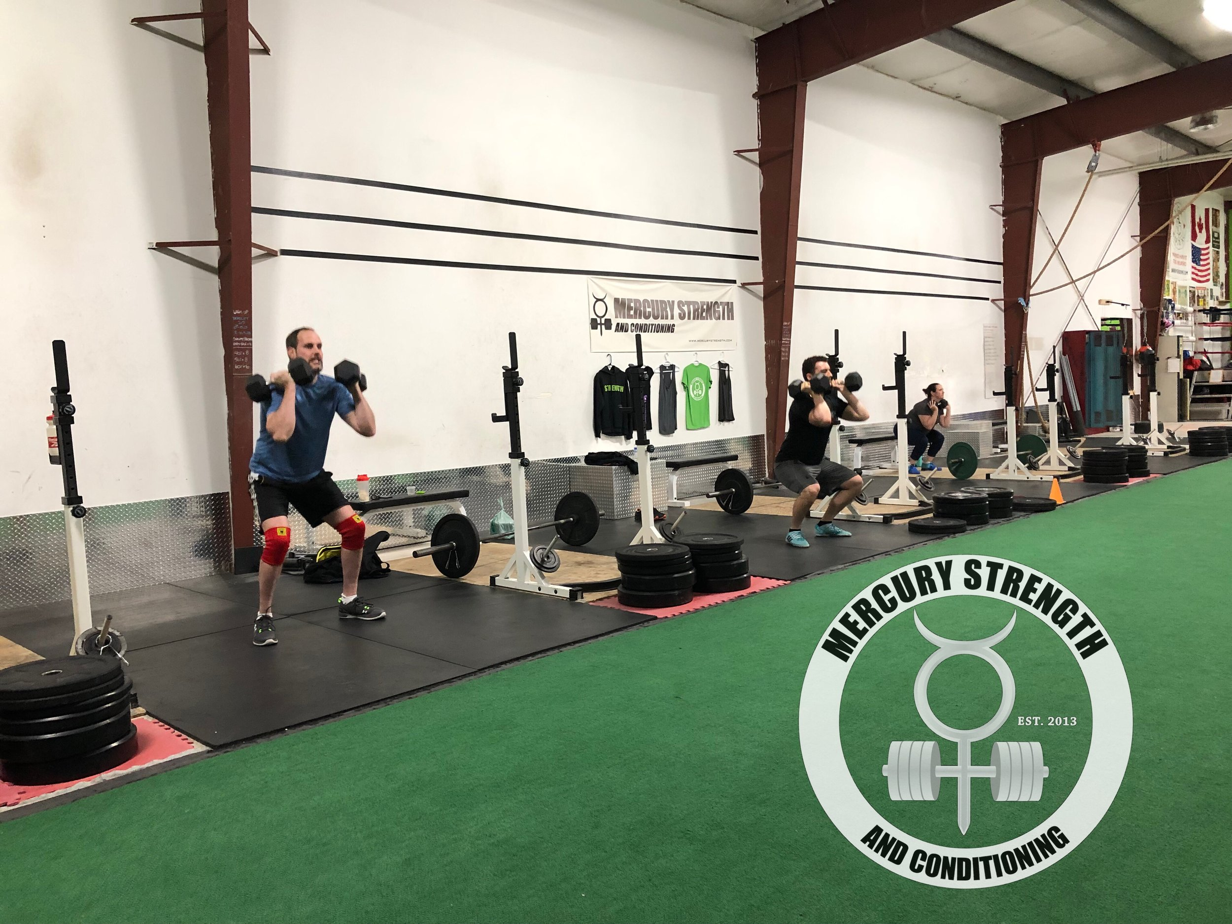 Gym-powerlifting-fitness-personal training-training-bootcamp-crossfit-kingston-kingston gym-kids-mercury-strength-conditioning-athlete-dumbbell front squat