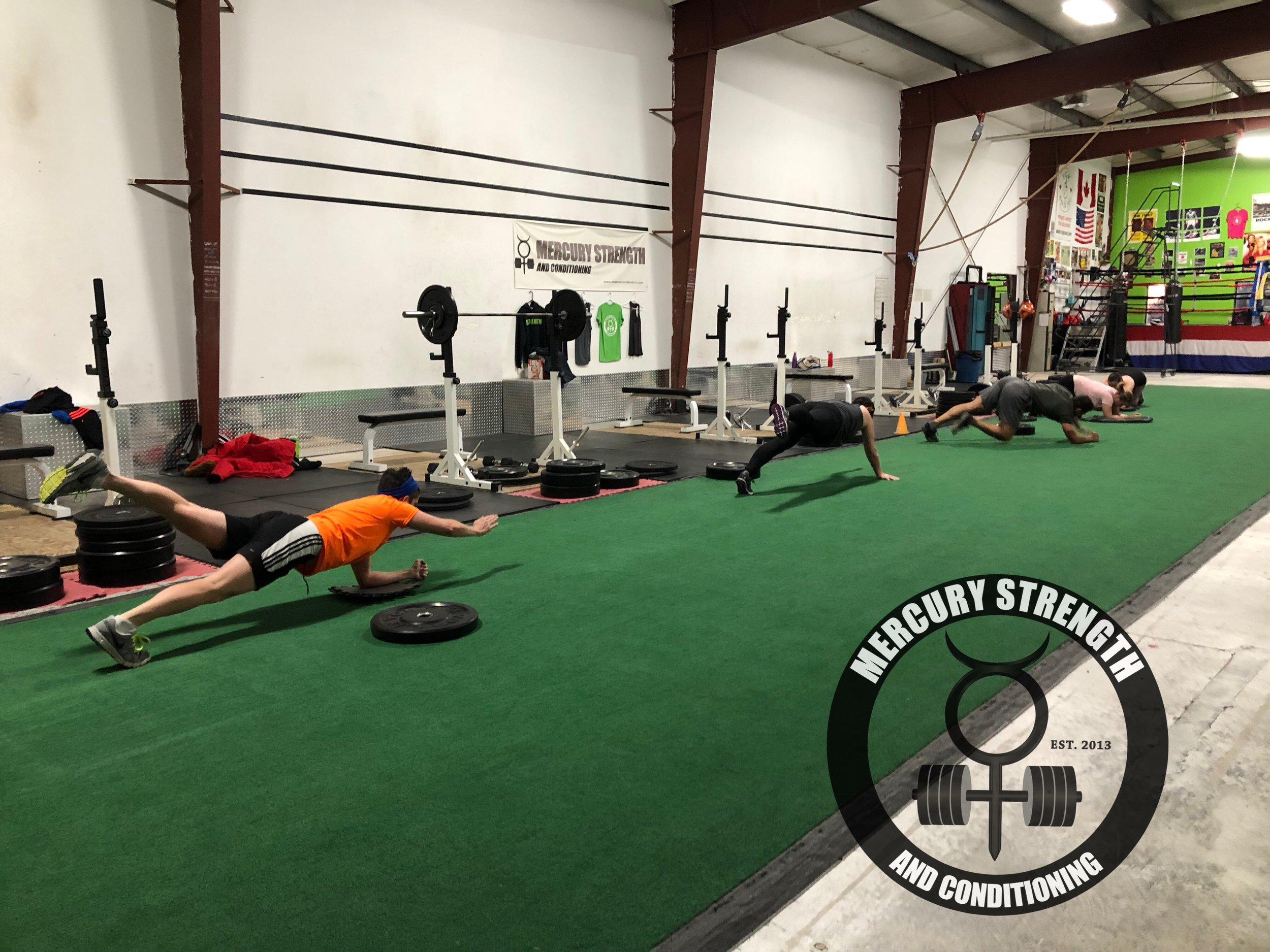 Working on core stability with some plank reach outs