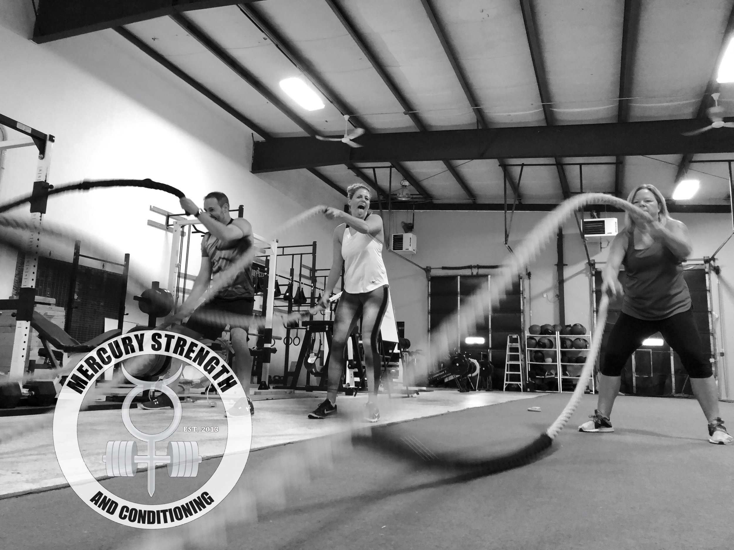 Andrew, Janet (always showing off for the camera LOL), and Jo with some battle ropes