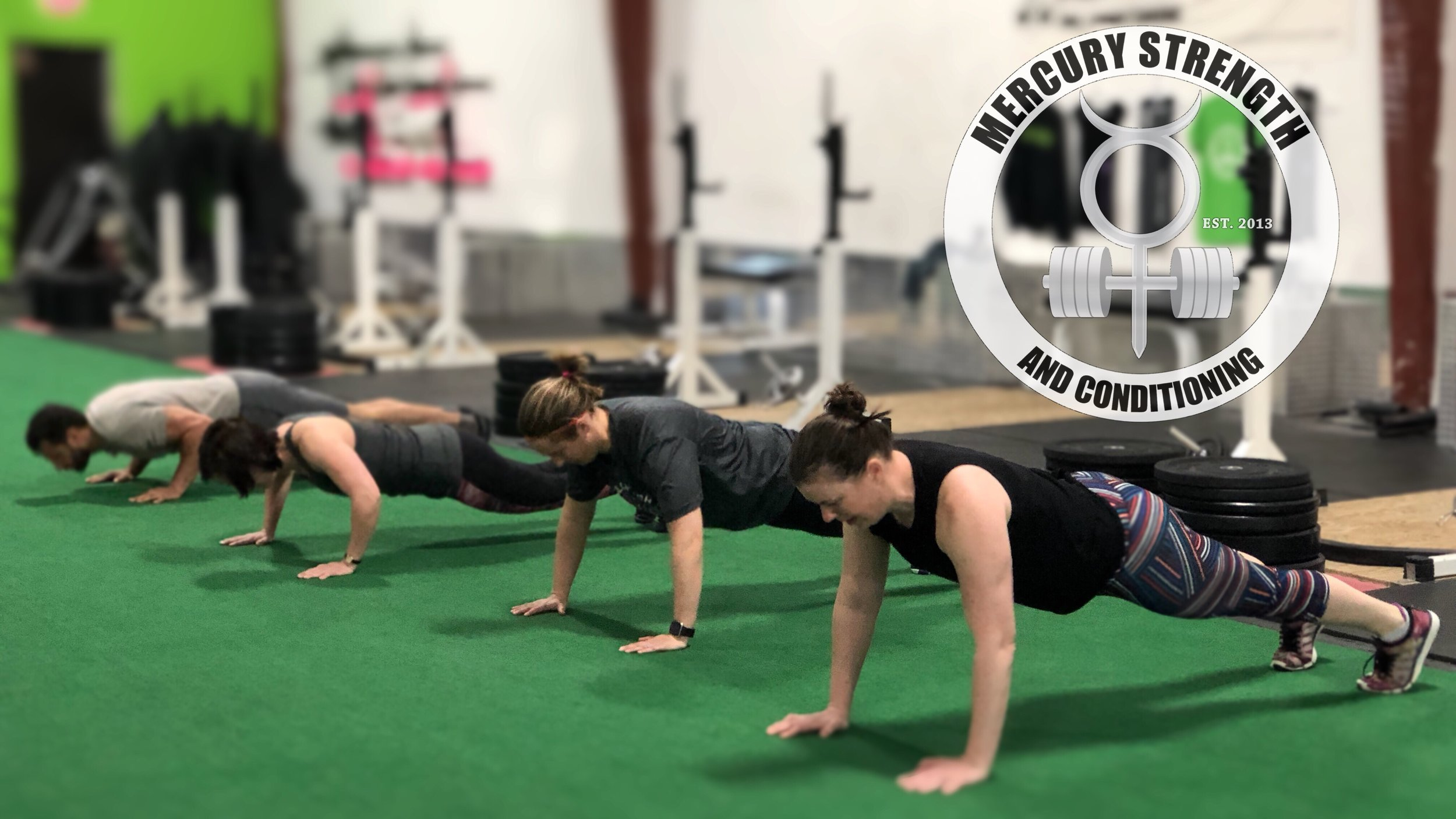 Katherine, Tara, Shawna, and Mike with some push-ups every minute