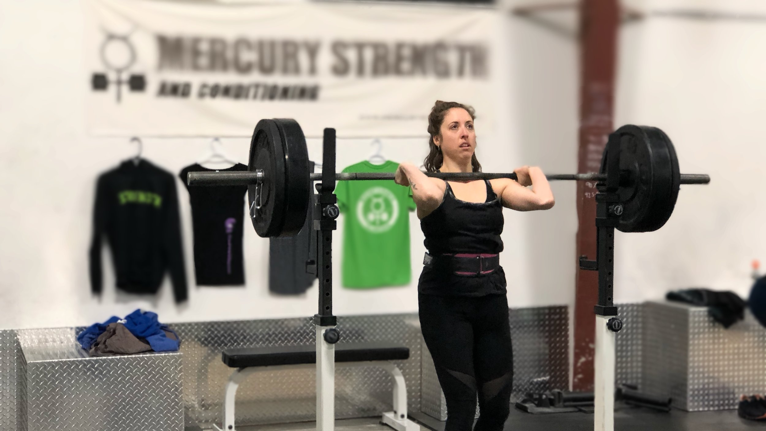 Julianne with the look of determination during front squats