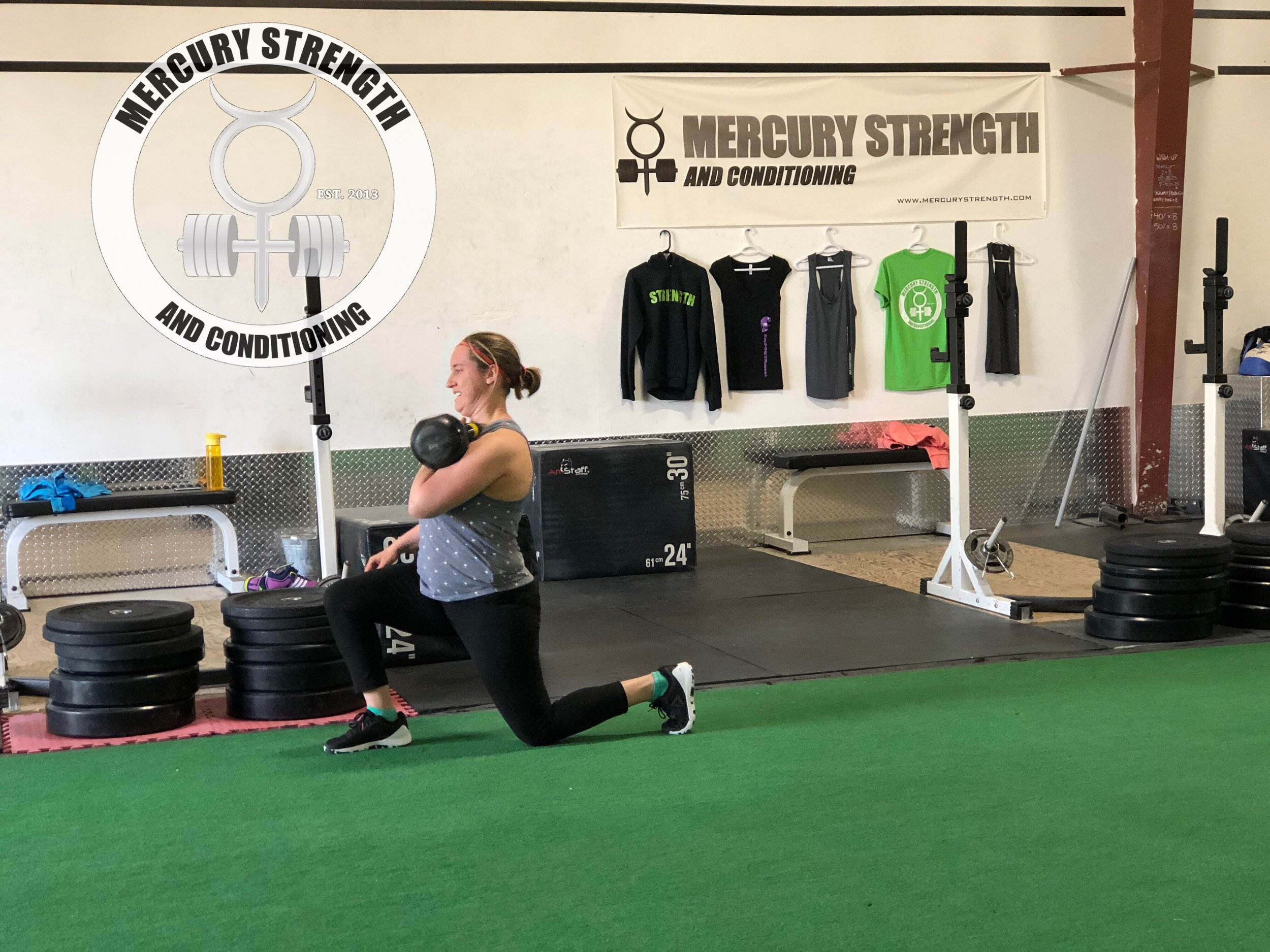 Tara with some front rack goblet lunges