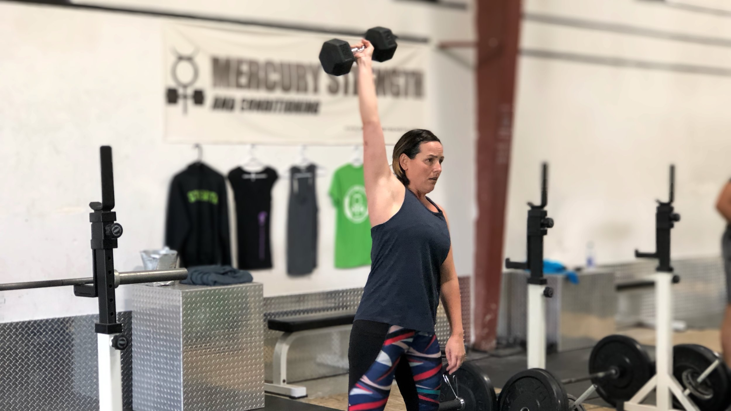 Lindsey with some DB hang power snatches