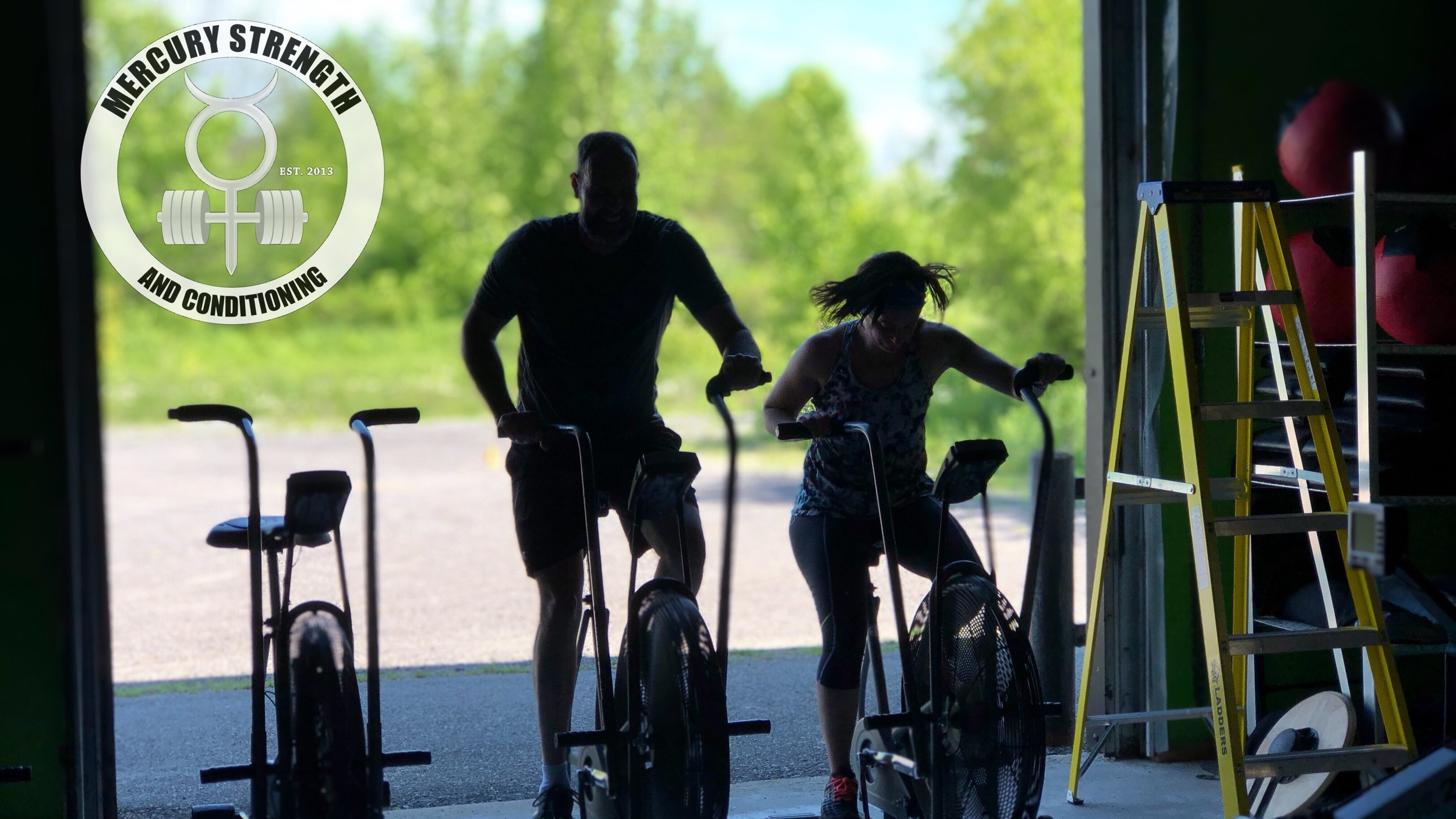 Andrew and Shawna burning up some calories on the air dyne