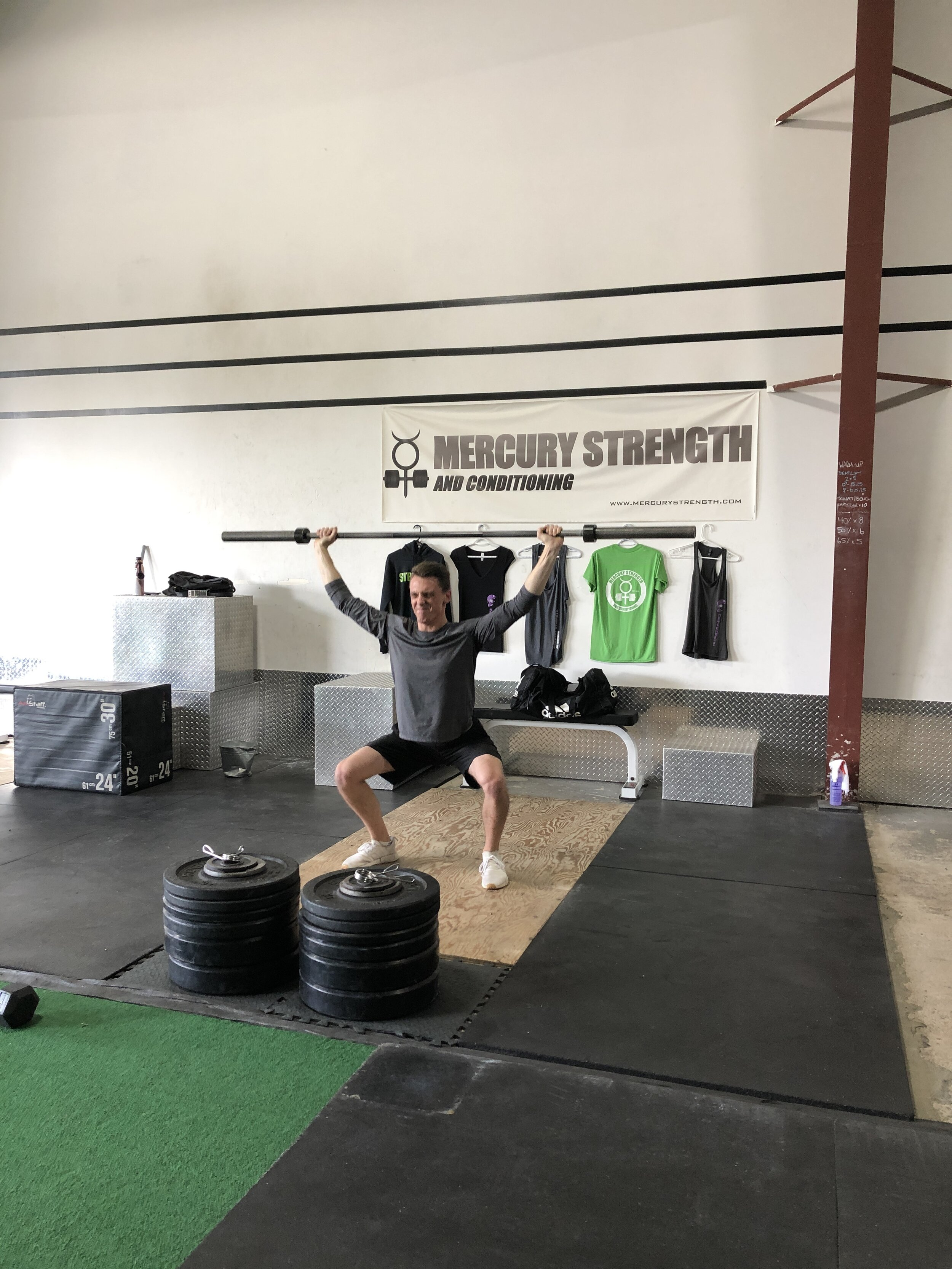 Jacob with some overhead squats