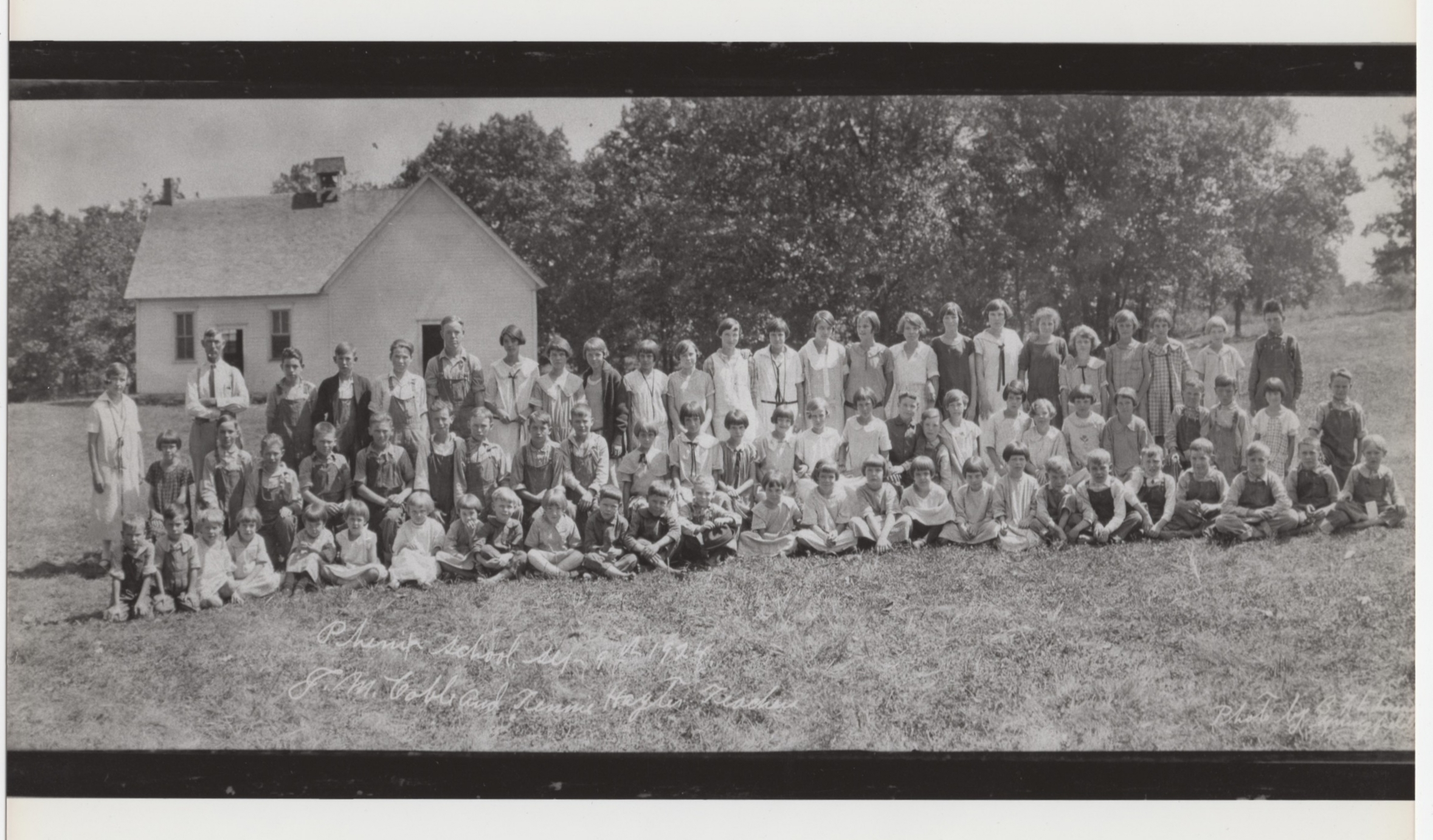 """Phenix School, Sep. 9th 1924 J.M. Coble and Tennie Hagter Teachers (Photo courtesy of Dave Richter)"