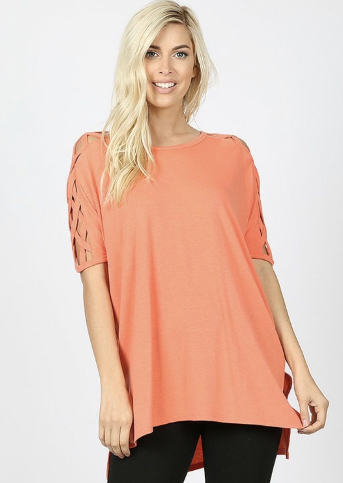 CORAL CRISS CROSS SHIRT (ALSO COMES IN MUSTARD)