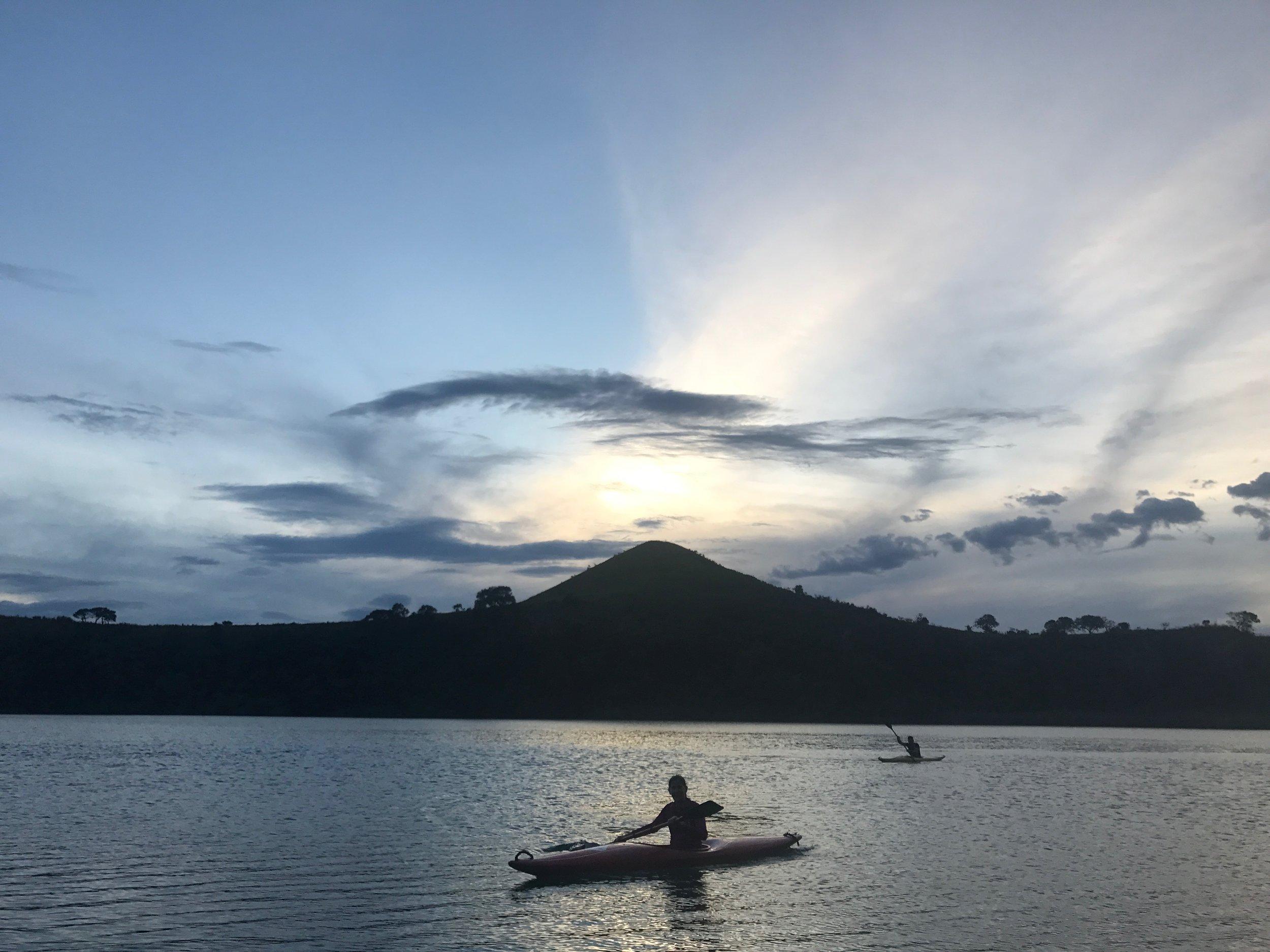 Go kayaking at sunset