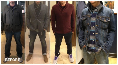 A simple transformation: fitted clothes with a dash of colour and pattern.