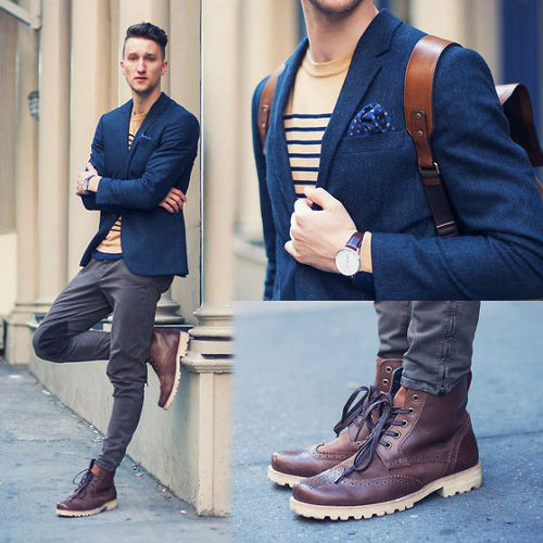 Boots can give you some stylish height. Also notice the use of colour and accessories to keep the eye focused on the upper body.