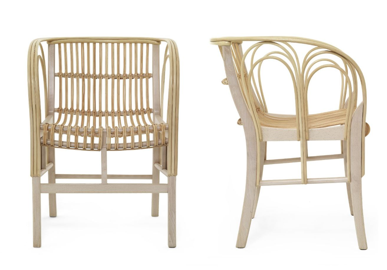 Uragano  Beech and cane chair, by Vico Magistretti for DePadova