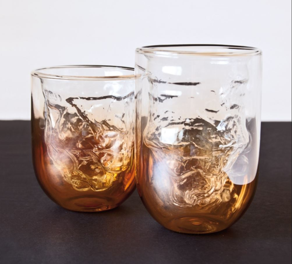 Mouth blown Meteorite glasses from Cosmic diner, by Diesel for Seletti