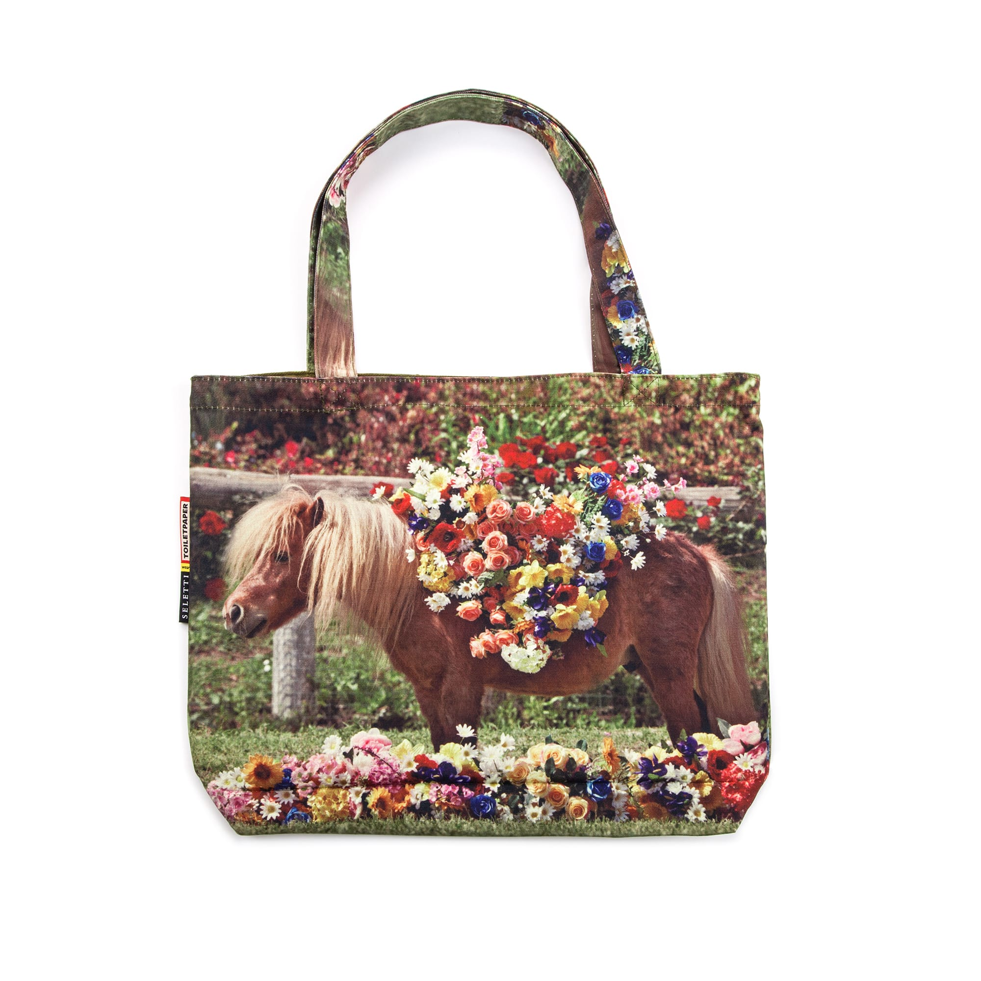 The fun and quirky Pony tote by Seletti wears Toiletpaper