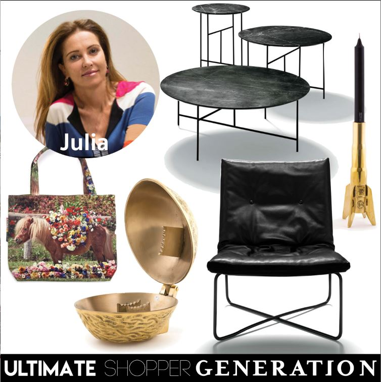 Julia chose a combination of classic and quirky, the Sen Table set in Greystone marble, one of the latest designs released by De Padova,the rocket #1 candle stick holder from the Diesel x Seletti Cosmic Diner Lunar range, the ultra sophisticated De Padova low chair, in leather, Seletti's stunning Noix bronze nut cracker and the Seletti wears Toilepaper pony bag by Maurizio Cattelan.