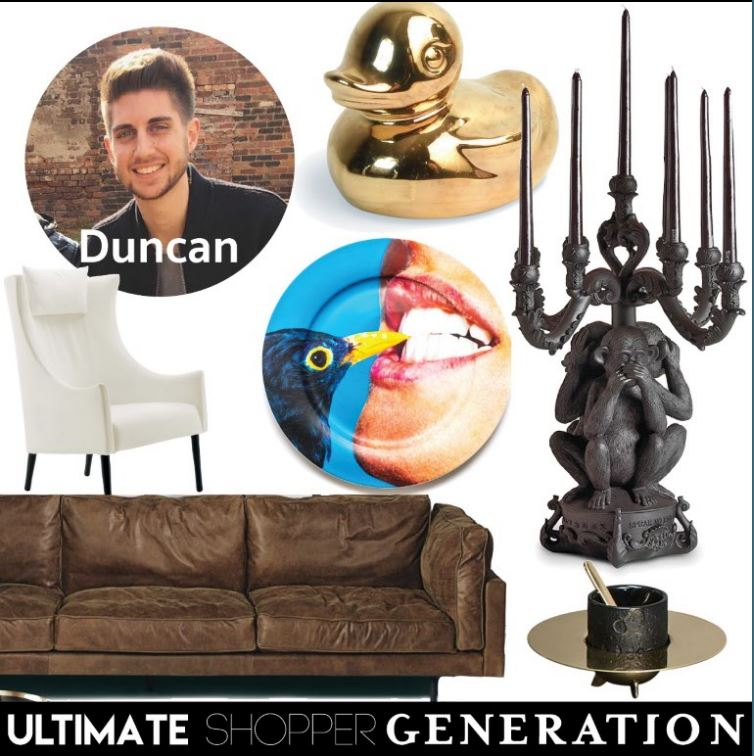 Duncan started his selection with the gold plated Goldies duck from Seletti, a Giant Burlesque monkey candelabra from Seletti, an original take on an espresso cup Cosmic Diner collectio by Diesel for seletti, the ultimate leather Square 16 sofa from De Padova, a timeless classic Tondo armchair also from De Padova, and ended off with a blackbird ceramic plate from the Seletti Wears Toiletpaper collection.