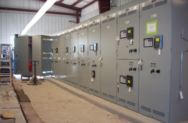 Co-generation facility in construction - electrical MCC lineup