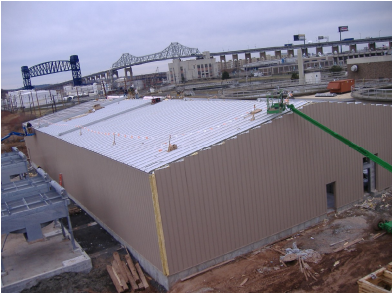 Co-generation facility in construction - exterior shell with heat exchangers